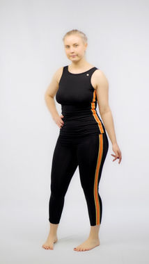 Deha women's top with orange stripes