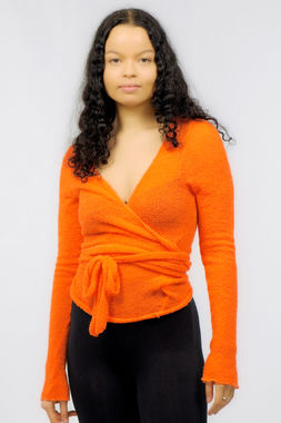 Bouclé women's wrap shirt orange