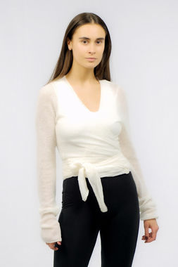 Bouclé women's wrap shirt white