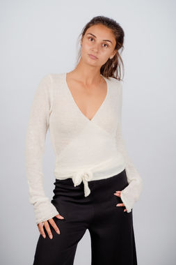 Deha women's bouclé wrap shirt