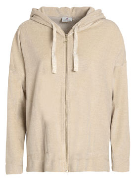 Glittering velour hoodie champagne