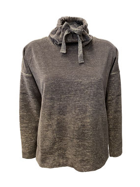 High neck velour sweater, grey
