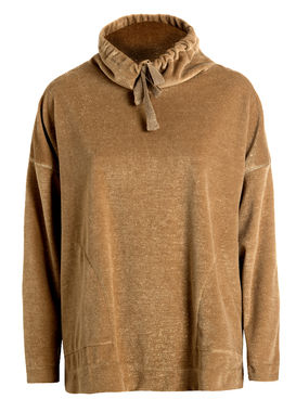 High neck velour sweater beige