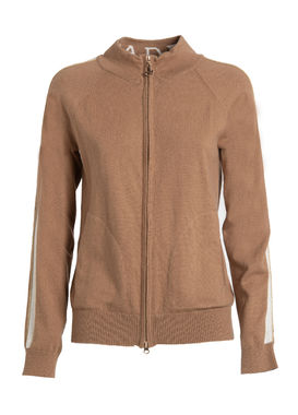 Knitted zip-up sweater beige
