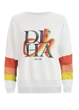 Women's white sweatshirt with colourful stripes and print by Deha