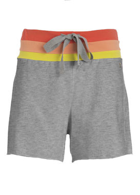 Women's grey sweat shorts with a colorful waistband