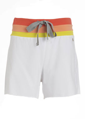 Women's white sweat shorts with a colorful waistband