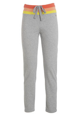 Women's grey sweatpants with a colorful waistband