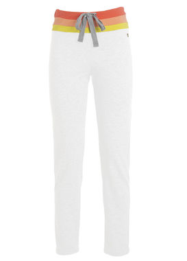 Women's white sweatpants with a colorful waistband