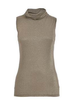 Women's turtleneck tank top gold