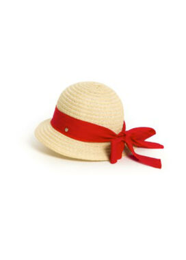Women's summer hat with a red bow