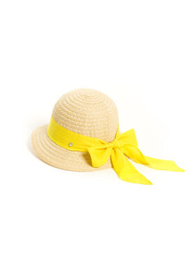 Women's summerhat with a yellow tied bow
