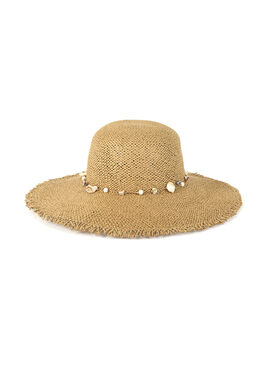 Women's summer straw hat with a jewellery detailing