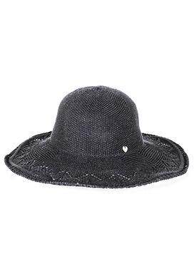 Women's knitted lace summer hat, black