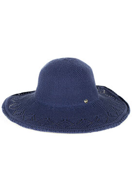 Women's knitted lace summer hat, in blue