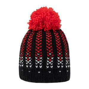 Kids' knit beanie with a pom pom red