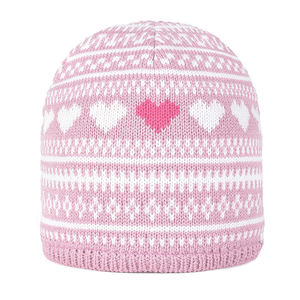 Kids' beanie with heart pattern
