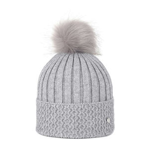 Knit beanie with a pom pom grey