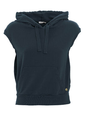 Women's sleeveless hoodie with a pocket dark blue