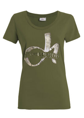 Women's white t-shirt olive green