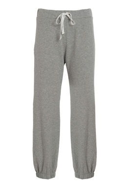 Women's grey sweatpants with a white stripe
