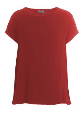 Short sleeved blouse with a drawstring red