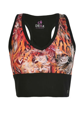 Women's short sports top with an animal pattern
