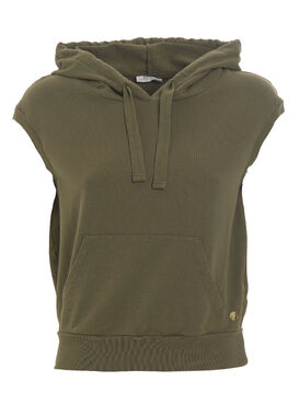 Women's sleeveless hoodie with a pocket olive green