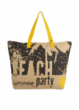 Big beach bag with a print beige/yellow