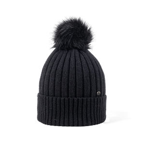 Glittering ribbed beanie black