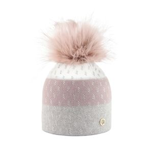 Rhinestone beanie BARRYMORE with a pom pom