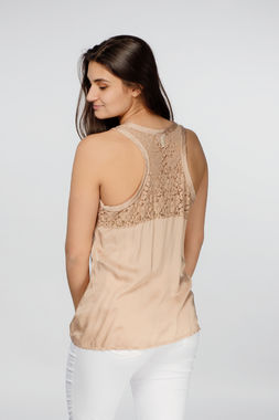 Deha women's beige racer back top with lacy back