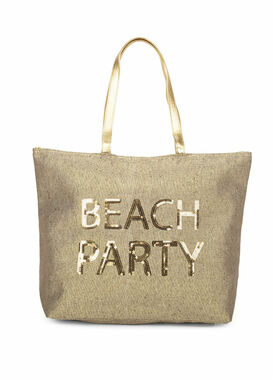 Big shopper bag with sequins gold