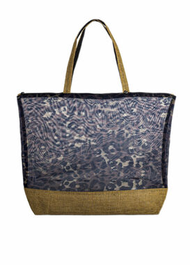 Big beach bag with leopard print
