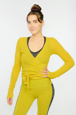 Bouclé women's wrap shirt yellow