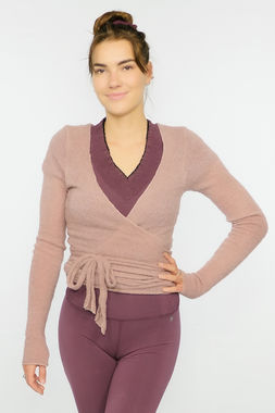 Bouclé women's wrap shirt dusty rose