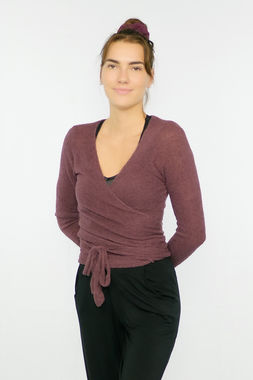 Bouclé women's wrap shirt burgundy