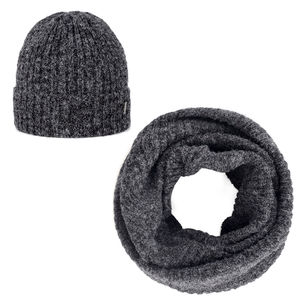 Beanie and scarf set dark grey