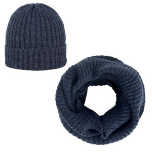 Beanie and scarf set navy