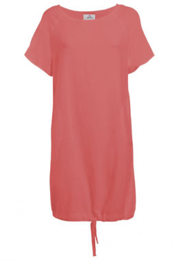 Red T-shirtdress with pockets and hem drawstring by Deha