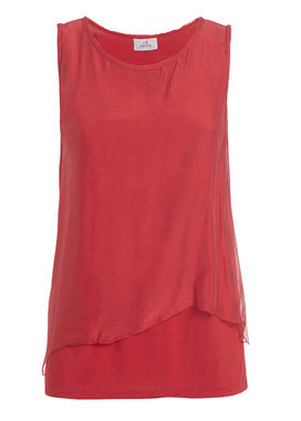 Women's silk top with two-layers, in red