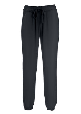 Women's black relaxed tapered fit crepe pants