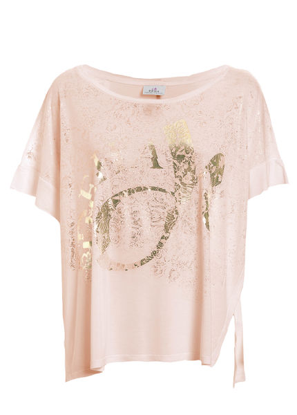 Loose fitting t-shirt with golden print, peach