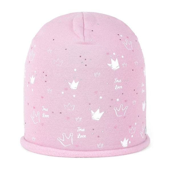 Kids' beanie with embellishments pink