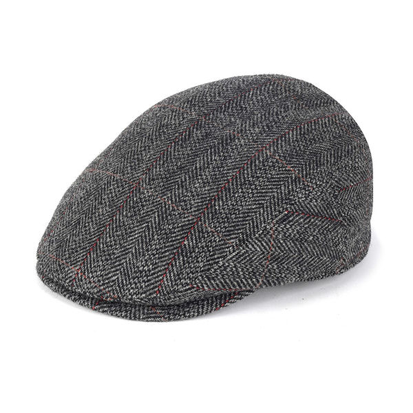Mens' flat cap with earflaps grey