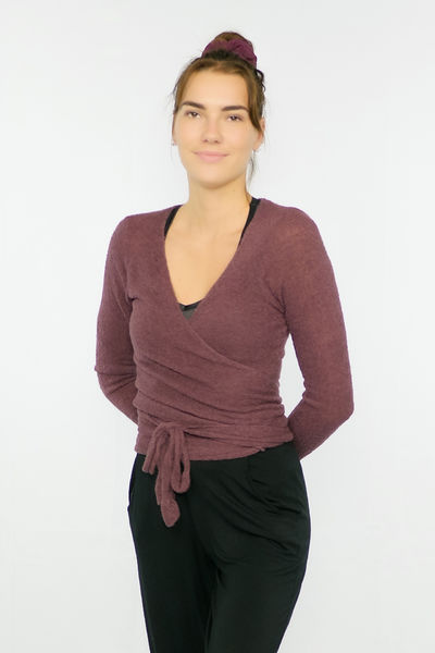 Women's wrap shirt Bouclé burgundy