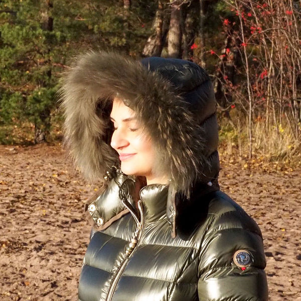 Down Jacket for Women with raccoon