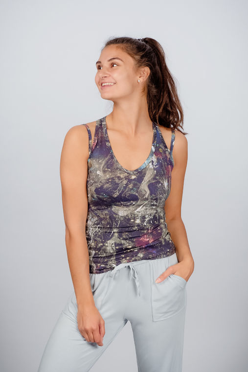 Women's yoga top with print